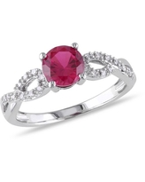 1 Carat T.G.W. Created Ruby and Diamond-Accent 10kt White Gold Infinity Engagement Ring