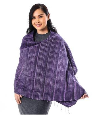 Striped Silk and Cotton Blend Shawl in Purple from Thailand