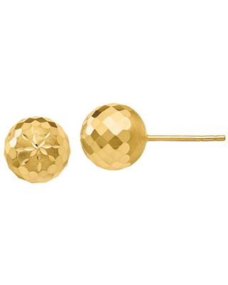 14K Gold 9mm Round Stud Earrings, One Size