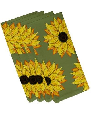 "August Grove Vieux Sunflower Power Flower Print Napkin ATGR6542 Size: 19""W x 19""L Color: Green"