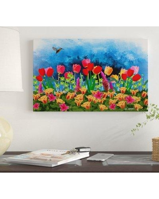 """Winston Porter 'Tulips' Oil Painting Print on Wrapped Canvas WNST7247 Size: 30"""" H x 47"""" W"""