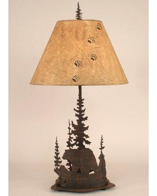"""Loon Peak Glynis Bear and Feather Tree 33"""" Table Lamp LOPK5063"""