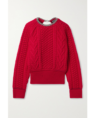 BOTTEGA VENETA - Chain-embellished Open-back Cable-knit Wool Sweater - Red