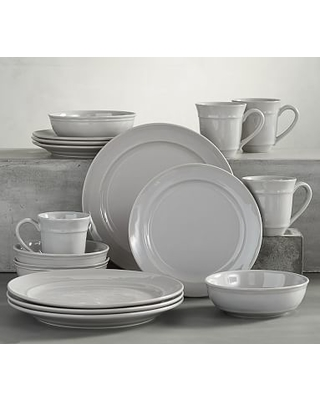 """Cambria Stoneware 16-Piece Dinnerware Set, 11 3/4"""" Dinner Plate with Soup Bowl - Gray"""