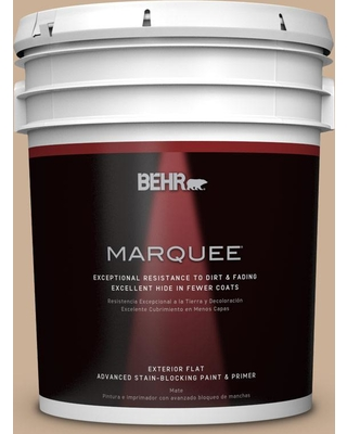 BEHR MARQUEE 5 gal. #N260-3 Polo Tan Flat Exterior Paint and Primer in One