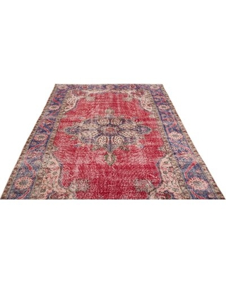 """One-of-a-Kind Hand-Knotted 1960s Red 5'11"""" x 9'9"""" Area Rug Isabelline"""