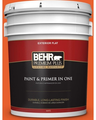 BEHR Premium Plus 5 gal. #210B-7 Flame Flat Exterior Paint and Primer in One