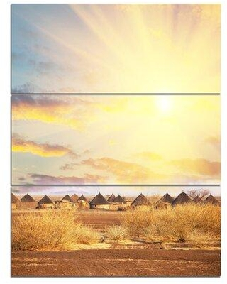 Design Art 'African Huts under Colorful Sky' 3 Piece Photographic Print on Wrapped Canvas Set PT12911-3PV