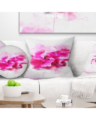 """Floral Beautiful Flower with Color Splashes Pillow East Urban Home Size: 18"""" x 18"""", Product Type: Throw Pillow"""