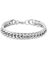 Men's West Coast Jewelry Stainless Steel Curb Link Chain Bracelet (8), Silver