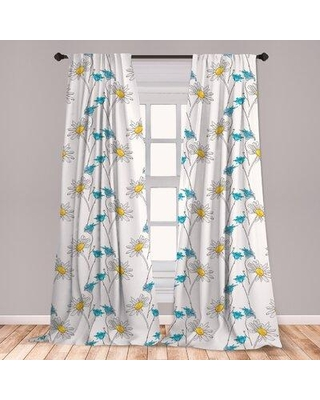 Deals For East Urban Home Floral Room Darkening Rod Pocket Curtain Panels Size Per Panel 28 X 63 Polyester In Blue Turquoise Aqua Size 63 W X 56 D