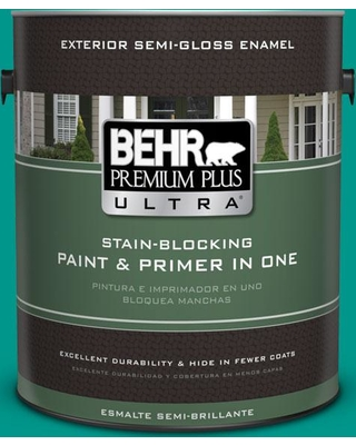 BEHR ULTRA 1 gal. #S-G-490 Intense Teal Semi-Gloss Enamel Exterior Paint and Primer in One