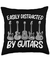 Best Guitar Player Music Band Instrument Clothes Cool Guitar Gift For Men Women Acoustic & Electric Guitarist Throw Pillow, 18x18, Multicolor