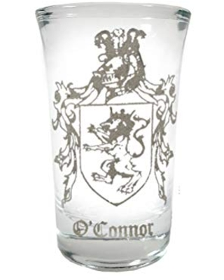 O'Connor Irish Family Coat of Arms Shot Glass 2oz - Free Personalized Engraving
