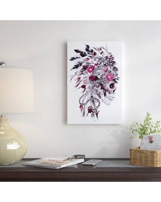 """East Urban Home Floral Skull Series 'Momento Mori Chief' Graphic Art Print on Canvas URBH7171 Size: 60"""" H x 40"""" W x 1.5"""" D"""