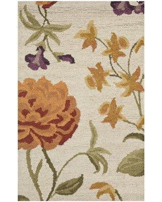 August Grove Zacharias Hand-Hooked Wool Ivory Area Rug ATGR6989 Rug Size: Rectangle 3' x 5'
