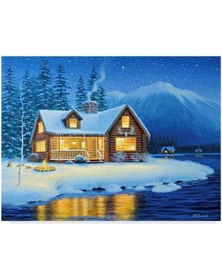 """Trademark Art 'Starlight Cabin' Acrylic Painting Print on Wrapped Canvas ALI35694-CGG Size: 35"""" H x 47"""" W x 2"""" D"""