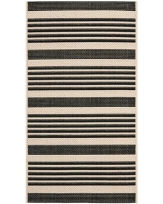 "Safavieh Courtyard Charmaine Indoor/ Outdoor Rug (2' x 3'7"" - Black/Bone)"