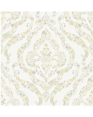 MANHATTAN COMFORT INC Redding, Featherton Mustard Floral Damask Paper Strippable Wallpaper Roll (Covers 56.4 sq. ft.), Yellow