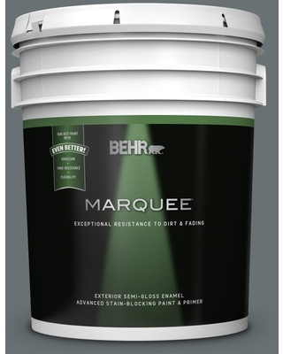 BEHR MARQUEE 5 gal. #MQ5-28 Dawn Gray Semi-Gloss Enamel Exterior Paint and Primer in One