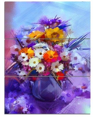 Design Art 'Watercolor Flowers in Purple Vase' 3 Piece Painting Print on Wrapped Canvas Set PT14110-3PV