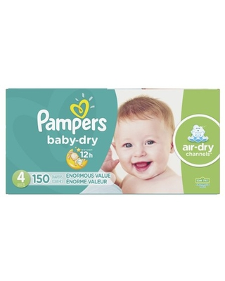 Pampers Baby-Dry Extra Protection Diapers, Size 4, 150 Ct