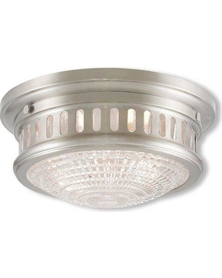 "Loon Peak Capitola 3-Light Flush Mount LOON7705 Size: 5"" H x 11"" D Fixture Finish: Polished Nickel"