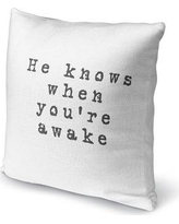 "Ivy Bronx Esquer He Knows When You're Awake Outdoor Throw Pillow IVBX2272 Size: 16"" x 16"""