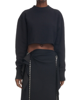 Givenchy Trompe l'Oeil Crop Cotton Sweatshirt, Size Large in Black at Nordstrom