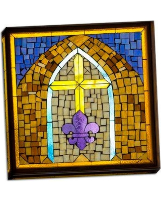 Astoria Grand 'Stained Glass Cross III' Graphic Art Print on Wrapped Canvas BF053610