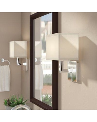 """Wade Logan® Clareville 1 - Light Dimmable Armed Sconce Finish: Polished Chrome, Fabric/Metal in Chrome/Nickel/Polished Chrome, Size 11""""H X 8""""W X 6""""D"""