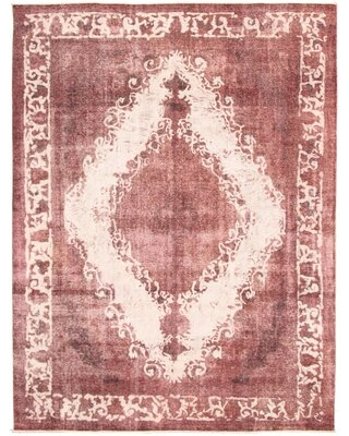 """One-of-a-Kind Dain Hand-Knotted 1980s Overdyed Burgundy 9'3"""" x 12'4"""" Wool Area Rug"""