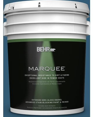 BEHR MARQUEE 5 gal. #M490-7 Shasta Lake Semi-Gloss Enamel Exterior Paint and Primer in One