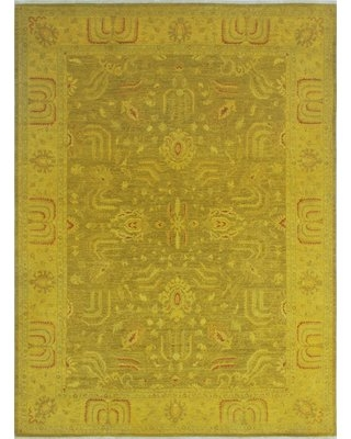 One-of-a-Kind Collette Hand-Knotted Wool Gold Area Rug Isabelline
