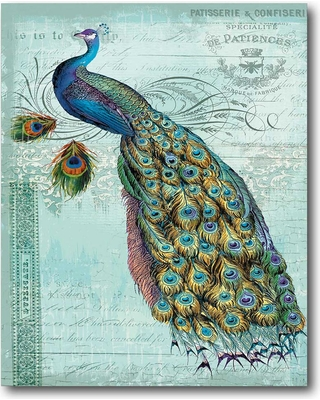 """COURTSIDE MARKET 16 in. x 20 in. """"Blue Peacock"""" Canvas Wall Art"""