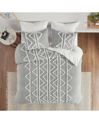 3pc Full/Queen Hayes Chenille Cotton Comforter Set Gray