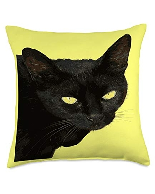 taiche Jet Black Cat With Yellow Eyes Vector Portrait Throw Pillow, 18x18, Multicolor