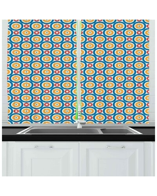 Circles with Dots Vibrant Colored Symmetrical Tile Pattern Kitchen Curtain East Urban Home