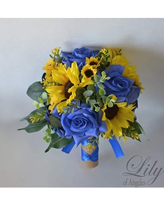 Amazing Deal On Wedding Bouquet Bridal Bouquet Bridesmaid Bouquet Silk Flower Bouquet Wedding Flower Yellow Sunflower Mini Sunflower Periwinkle Royal Blue Blue Burlap Rustic Greenery Lily Of Angeles
