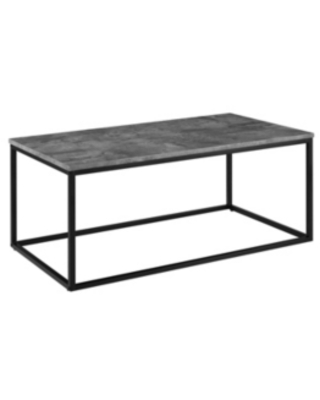 """Walker Edison 42"""" Faux Marble Mixed Material Coffee Table with Black Base"""