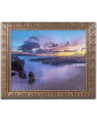 """Trademark Art """"Beach at Dusk"""" by Pierre Leclerc Framed Photographic Print PL0217-G1114F / PL0217-G1620F Size: 11"""" H x 14"""" W x 0.5"""" D"""