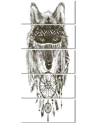 Design Art 'Funny indian Wolf Warrior Watercolor' 5 Piece Painting Print on Wrapped Canvas Set PT13247-401V