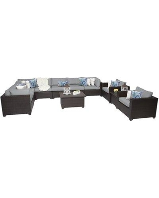 Sol 72 Outdoor Fernando 11 Piece Sectional Seating Group with Cushions W000037813 Cushion Color: Gray