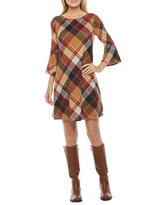 Jessica Howard 3/4 Bell Sleeve Plaid Shift Dress, Small , Brown