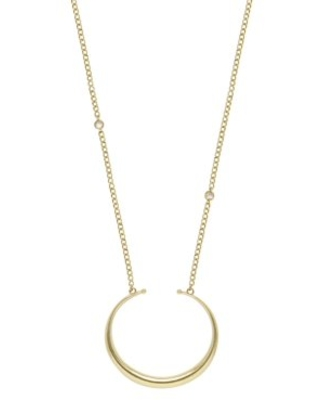 Gold Crescent Horn Pendant & Chain Necklace