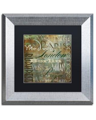 """Trademark Fine Art 'Cities of the World III' by Color Bakery Framed Textual Art ALI4118-S1 Size: 11"""" H x 11"""" W x 0.5"""" D Mat Color: Black"""