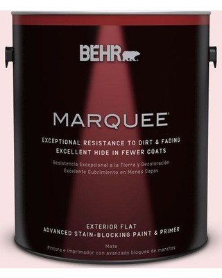 BEHR MARQUEE 1 gal. #RD-W2 Candy Floss Flat Exterior Paint and Primer in One