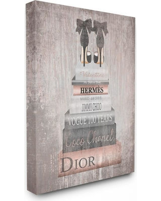 """30 in. x 40 in. """"Book Stack Heels Metallic Pink"""" by Amanda Greenwood Printed Canvas Wall Art, Multi-Colored"""