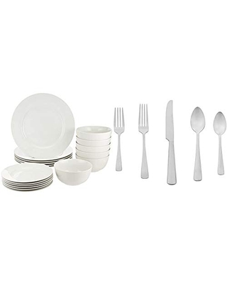AmazonBasics 18-Piece White Kitchen Dinnerware Set, Dishes, Bowls, Service for 6 & 20-Piece Stainless Steel Flatware Silverware Set with Square Edge, Service for 4