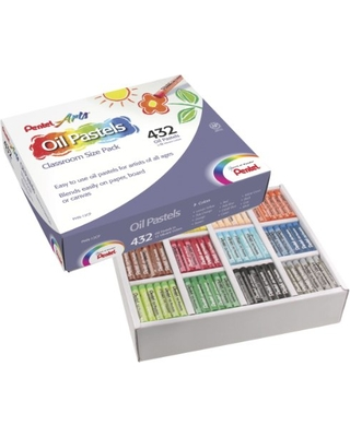 Pentel Arts Oil Pastels, 432 Piece Classroom Size Pack (PHN-12CP), Assorted